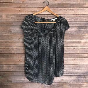 LC Lauren Conrad heart printed career blouse top